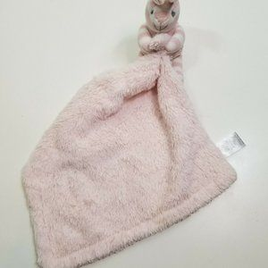 Nuby Pink White Striped Bunny Security Blanket